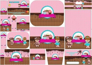 Girls Cooking Cupcakes:  Free Printable Candy Bar Labels.