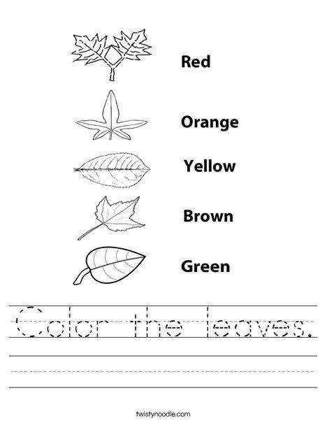 Color the leaves Worksheet - Twisty Noodle   Color ...