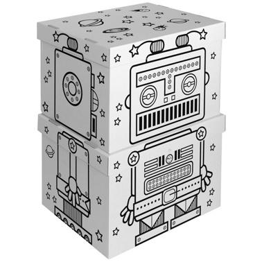 Boîtes de rangement en carton, visuel robot. Marque Villa Carton. A colorier ou à peindre.  14.95 usineadesign.com