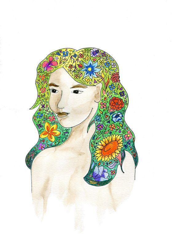 Flowers in her hair song lyrics art wall art by HelloDeerDesigns