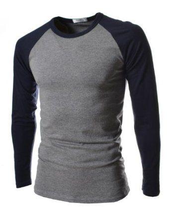 TheLees Mens Slim Fit Long Sleeve 2 Tone Tshirts
