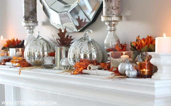 Fall Mantel Decor - see my easy Fall vase filler idea and tips to decorate a rustic, glam mantel pops of rusty orange and sparkle! www.settingforfour.com