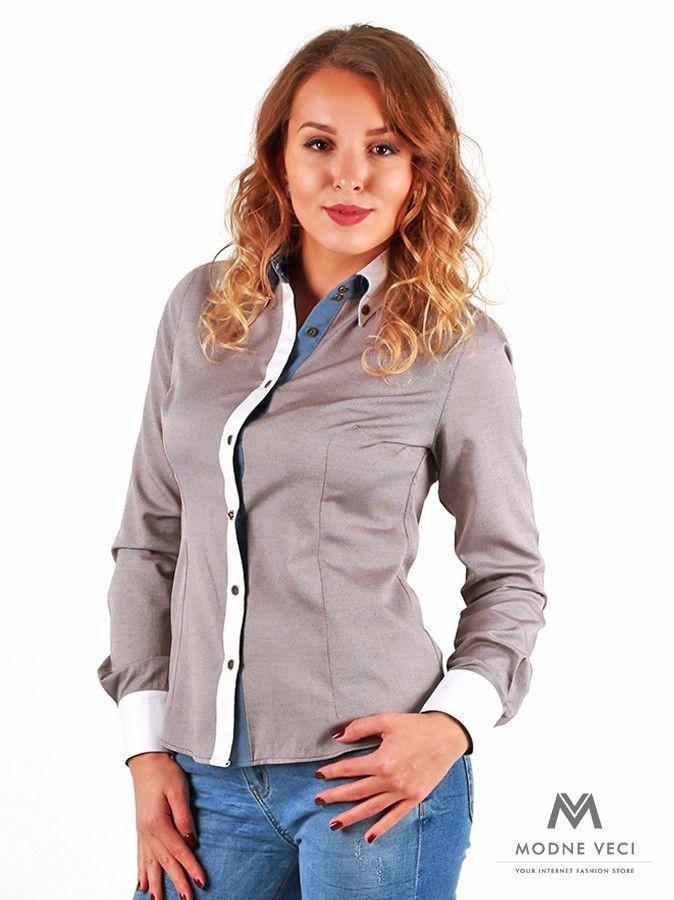 c88c5ae31478 Zaujímavá dámska košeľa Slim Fit VS-DK1737