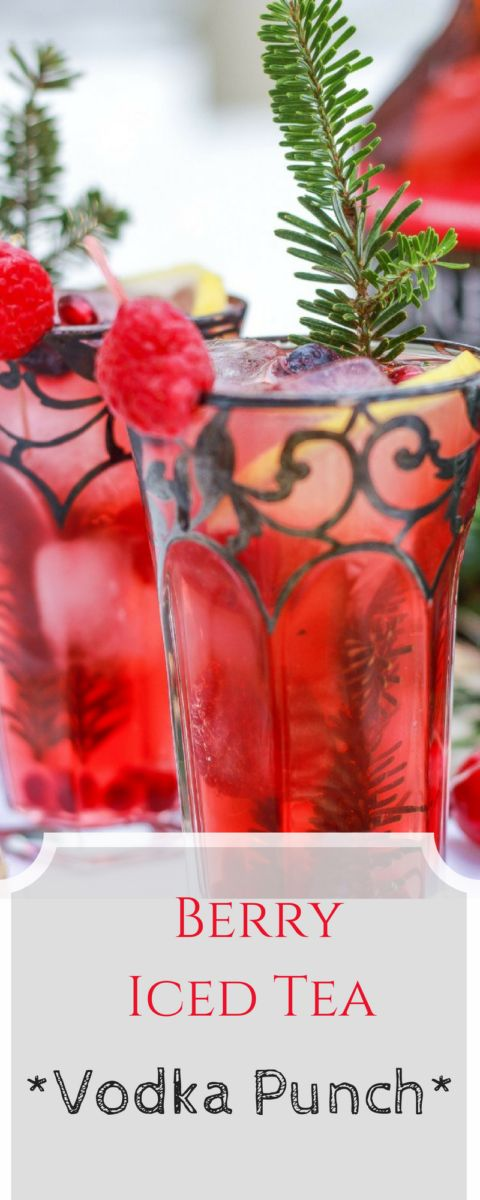 Delicious Valentines Day Cocktail Berry Iced Tea Vodka Punch Recipe