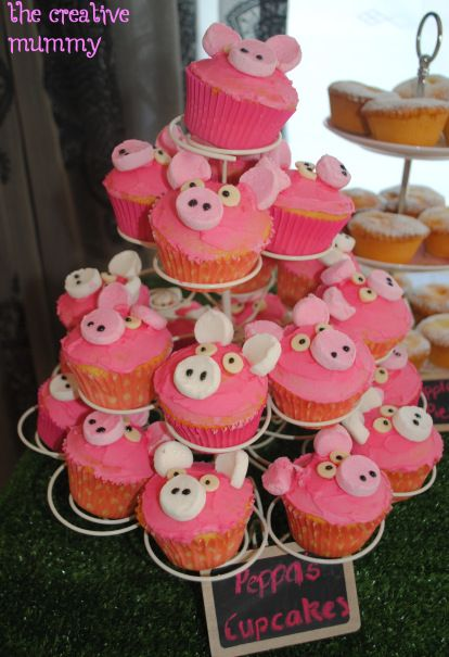 Peppa Pig Party   The Creative Mummy   Pig cupcakes