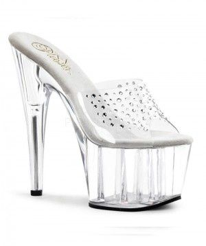 "PleaserUSA PLADORE-701RS    PLADORE-701RS Stripper Shoes - Sexy Clear platform Stripper shoes with 7"" stiletto heels & 2 1/2"" platforms with studded Rhinestone uppers, Designed in the USA by Stripper Shoes Manufacturer Pleaser Shoes. Shoes are available in a Uk Size 2-9 uk"