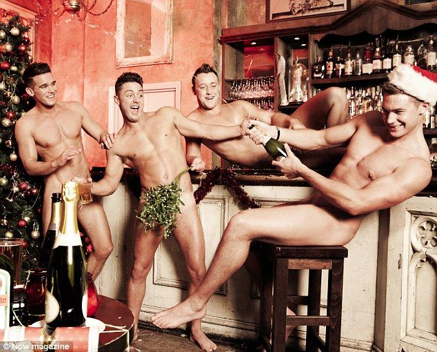 What a party: The Geordie shore boys strip off for the Now Magazine festive shoot
