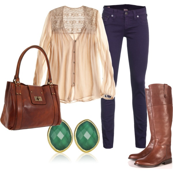 This top is great: Green Earrings, Falloutfit, Casual Friday, Skinny Jeans, Fall Looks, Riding Boots, Fall Fashion, Fall Outfit, Brown Boots