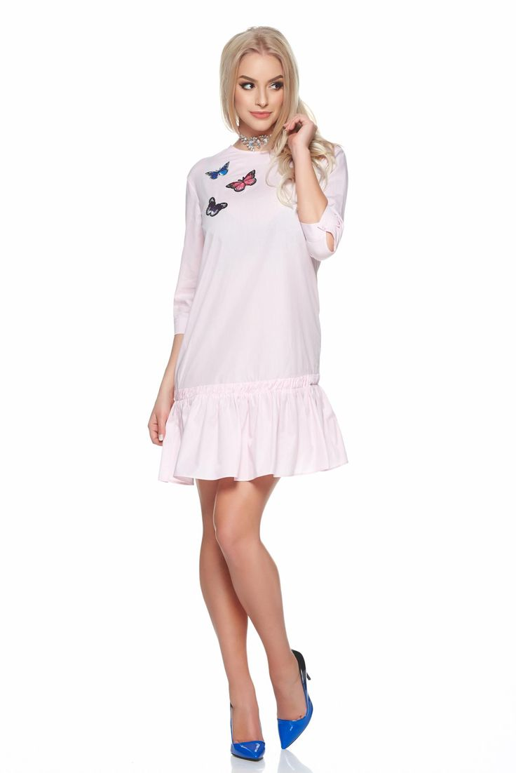 PrettyGirl daily lightpink dress embroidery details, embroidery details, ruffles at the buttom of the dress, back buttons fastening, the sleeve is attached with a button, 3/4 sleeves, easy cut, soft fabric, slightly elastic cotton