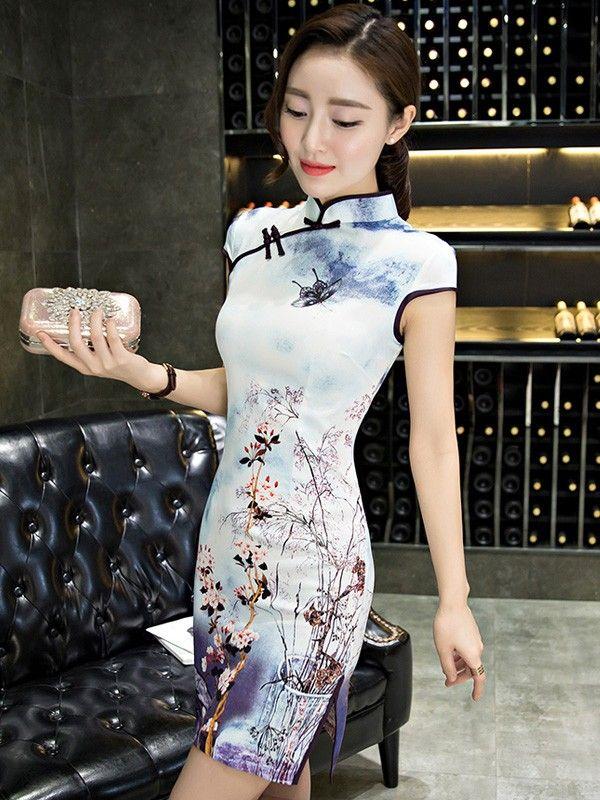 Charming Floral Qipao / Cheongsam Party Dress