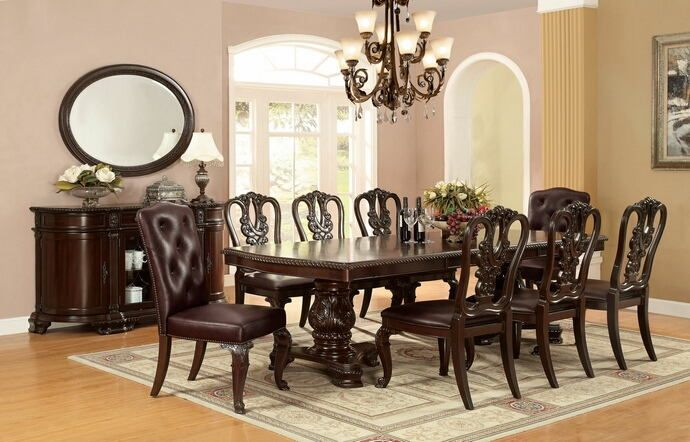 """7 pc Bellagio collection brown cherry finish wood dining table set with optional padded or open back chairs. This set includes the table with two leaves , 6 - side chairs with optional padded backs or open backs padded backs on the arm chairs. Table measures 44"""" x 72"""" L ( 108"""" L with 2 - 18"""" leaves).  Leather like fabric upholstered side chairs measure 27"""" W x 22 1/2"""" x 43 1/4"""" H.  Open back side chairs measure 25 1/2"""" W x 23"""" D x 42..."""