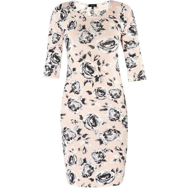 Petite Light Pink 3/4 Sleeve Floral Print Bodycon Dress (£7) ❤ liked on Polyvore featuring dresses, petite, bodycon dress, 3/4 sleeve dress, floral pattern dress, petite dresses and floral print bodycon dress