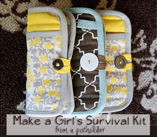 Do it yourself emergency kits. These would make great gifts too!Girls Emergency, Emergency Clutches, Pots Holders, Girls Survival Kit, Gift Ideas, Cute Ideas, First Aid Kits, Christmas Gift, Emergency Kits