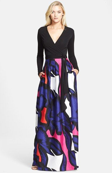 """Free shipping and returns on Diane von Furstenberg 'Kailey' Print Maxi Wrap Dress at Nordstrom.com. <p><B STYLE=""""COLOR:#990000"""">Pre-order this style today! Add to Shopping Bag to view approximate ship date. You'll be charged only when your item ships.</b></p><br>The iconic wrap dress is redone to statuesque effect, its long-sleeve bodice releasing to a pleated maxi skirt splashed with grand-scale flowers."""