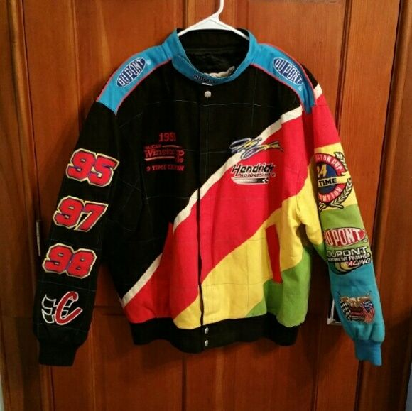 Vintage 1998 Jeff Gordon #24 Nascar Jacket!!!!!!!! Insane find!!!!!!! Fab condition vintage 1998 Jeff Gordon #24 Nascar Jacket!!! Features super great quality black and multi color soft heavy duty cotton with all patches still intact, and jacket is silk lined!! Size x large but fits modern size large. Ready for a new home. Jeff just retired so this jacket is very valuable!! Vintage  Jackets & Coats Utility Jackets