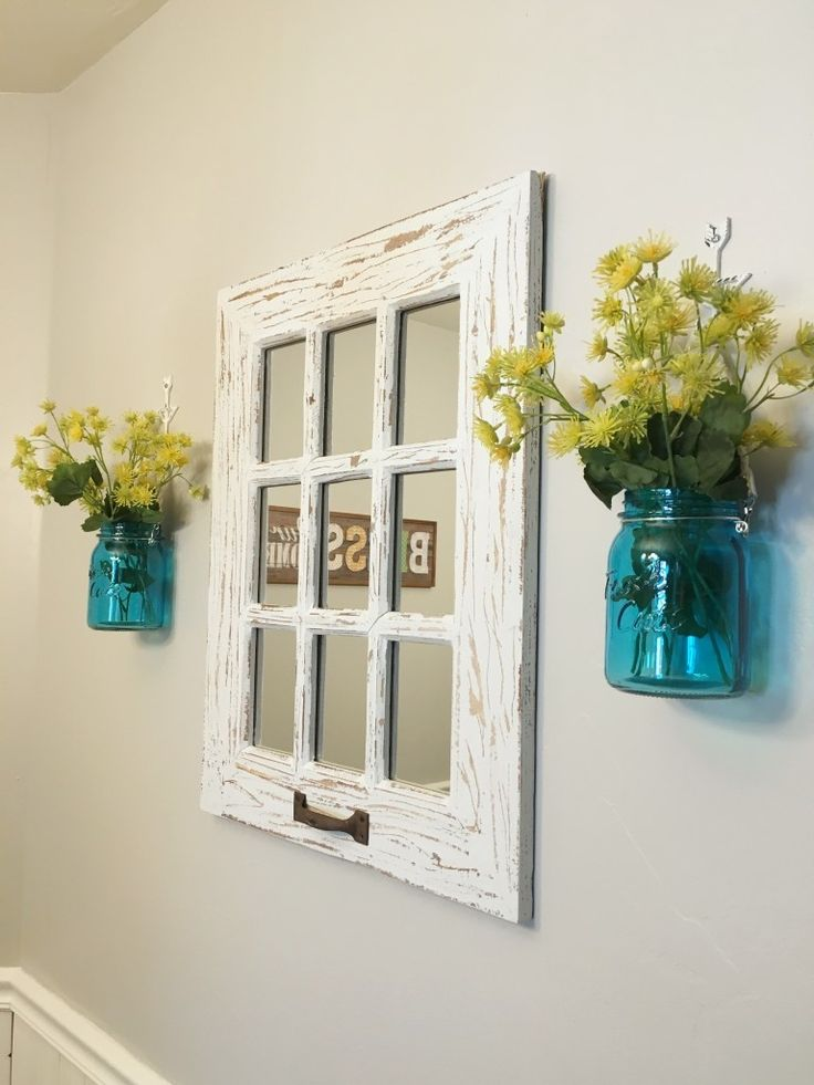 Rustic window pane mirror and mason jars