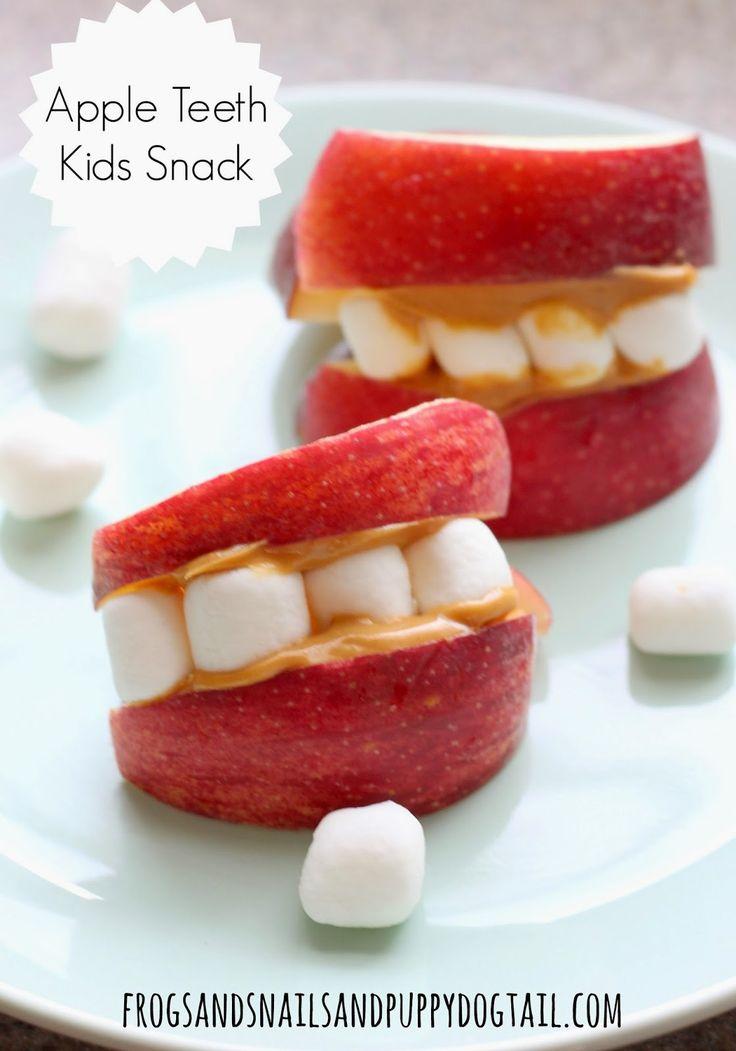 Apple Teeth Fun Snack for the Kids10 Halloween Ideas Kids LoveApple Volcanoes Science for Kids