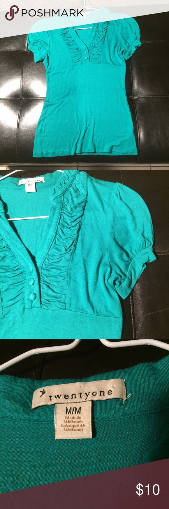 Forever 21 green/blue short sleeve top Forever 21 green/blue short sleeve top Forever 21 Tops