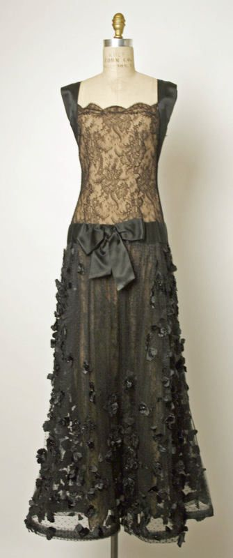 Evening dress Valentino (Italian) ca. spring/ summer 1994 silk, cotton, synthetic, glass