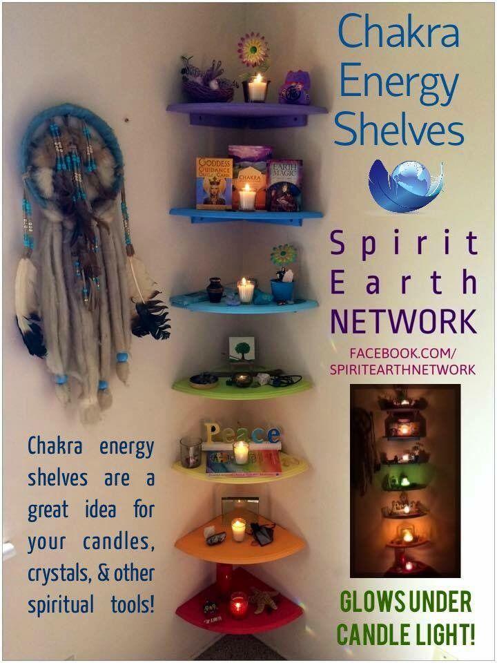 Chakra colored energy shelves