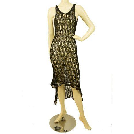 Black Open Knit Crochet Cardi Jacket w. matching Sleeveless Calf Length Dress