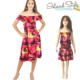 pink sunset mother & daughter matching hawaiian shirt and dress luau fancy dress