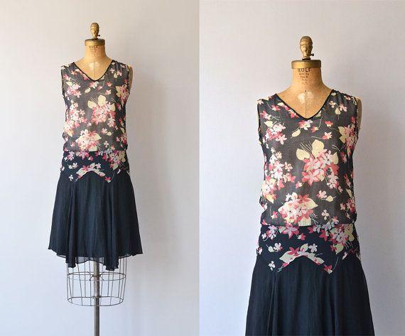 Vintage 1920s silk chiffon dress with black floral print bodice, V neckline, drop waist, layered silk chiffon skirt and no closures - slips on easily