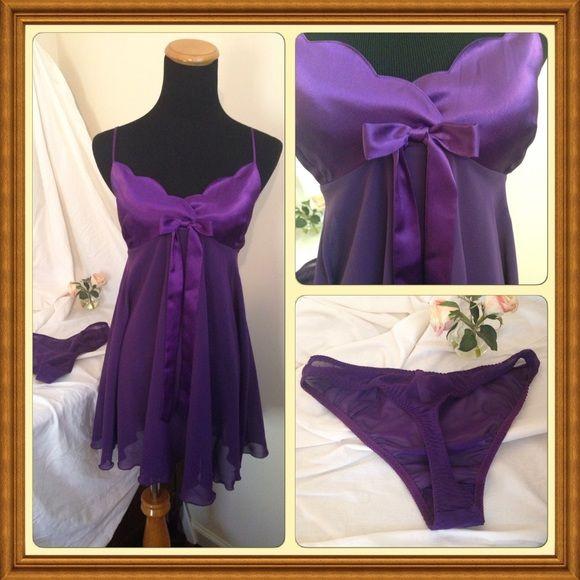 Lovely purple lingerie set! NWOT Elegant and sexy nighty and panty set Victoria's Secret Intimates & Sleepwear