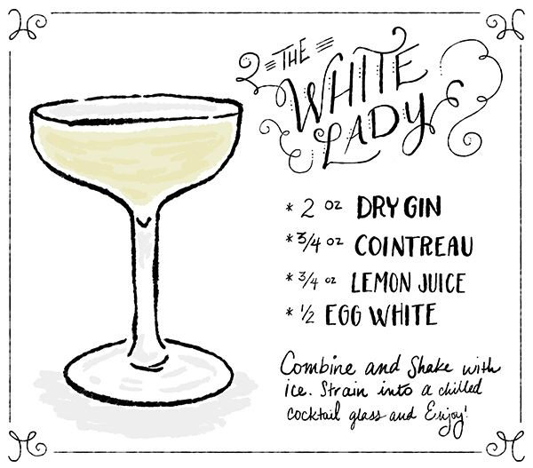 OSBP Signature Cocktail Recipe Card The White Lady Shauna Lynn Illustration Friday Happy Hour: The White Lady