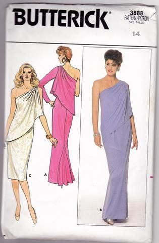 1980s Butterick 3888 One-Shoulder Evening Dresses Sewing Pattern Miss 14 - SewJewel - 1