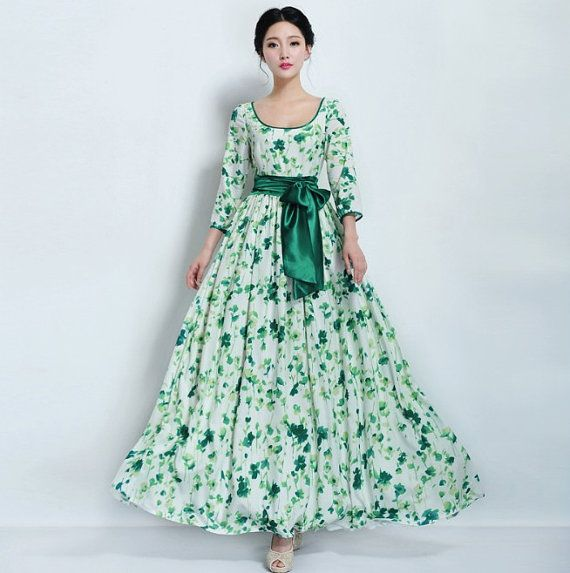 Autumn Green White Floral Bridesmaid Dress Ball Gown by ChineseHut, $149.00