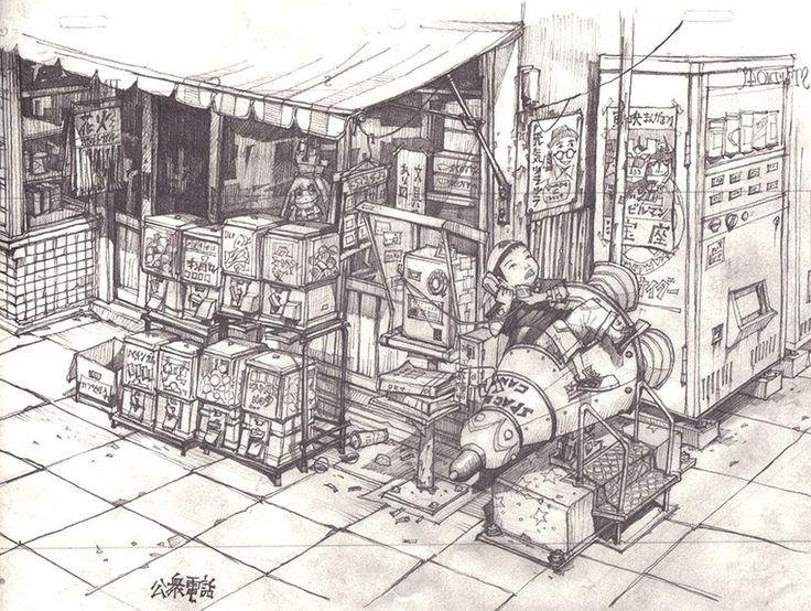 Tekkon Kinkreet (鉄コン筋クリート) Background Art by Shinji Kimura  Art Director : Blue Exorcist (movie), Tekkonkinkreet, Steamboy Background Art : My Neighbor Totoro, AKIRA, Urusei Yatsura