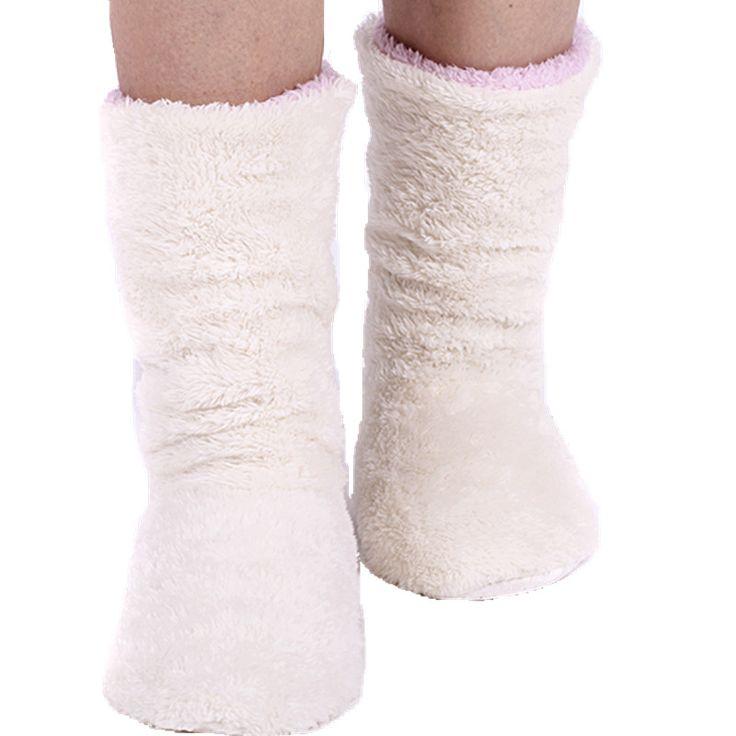 推奨女性暖かい冬のホーム靴サンゴフリース屋内床靴下、暖かい柔らかい床スリッパの床の靴ピンク/グレー/アイボリー