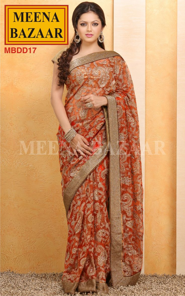Embroidered Saree with Cut-Dana Border on Net by Meena Bazaar