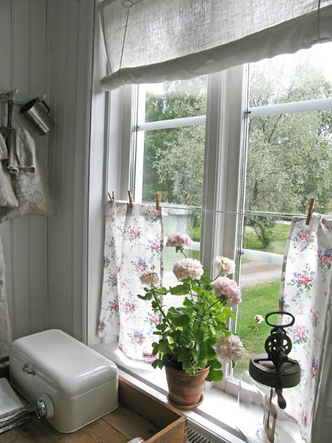Love the curtains hung with clothespins!!  :)