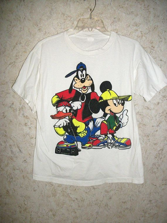 55e35a6830c0 90s Mickey Mouse Graphic T Shirt Goofy Donald Rapping Music 1990s Retro  Fashion Hip Hop Dope Crewneck Short Sleeves Unisex Mens Large