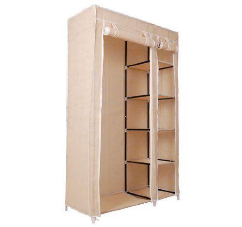 Homcom 42 Quot Portable Clothes Organizer Closet W Shelves Tan 799975630069 Perfect For Temporary Clothes Stora Closet Organization Garment