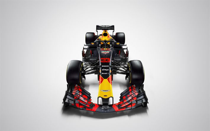Download wallpapers Aston Martin Red Bull Racing, 4k, 2018 cars, F1, Formula 1, HALO, Formula One, Red Bull Racing RB14
