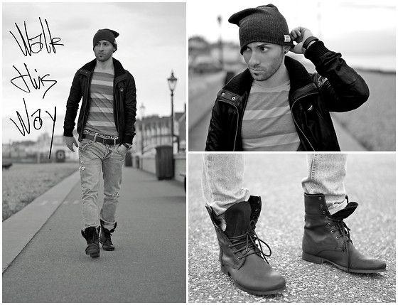 Topman Boots, Super Dry Leather Jacket, Soul Cal Beanie, Topman Ripped Jeans, Topman T Shirt
