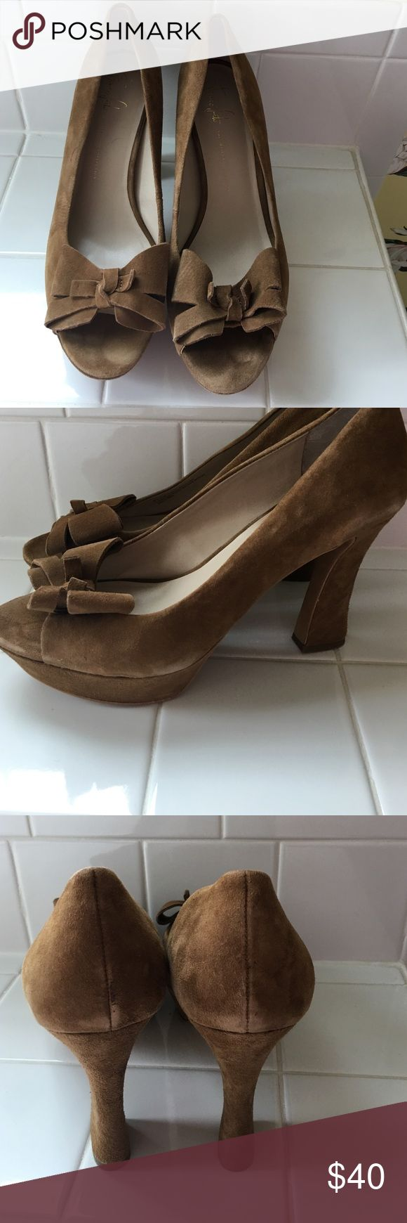 "Franco Sarto suede tan heels Franco Sarto ""the artist's collection."" Small red ink on shoe in pic. Franco Sarto Shoes Heels"