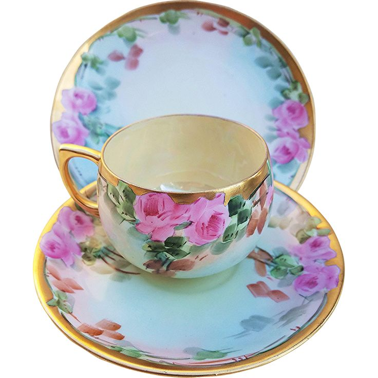 Fabulous Germany Antique 1900's Hand Painted Porcelain 'Pink Roses' 3-Pc Floral Cup, Saucer, & Plate Set by Artist, 'H. Reynolds' - Fine China Teacup Tea Cup