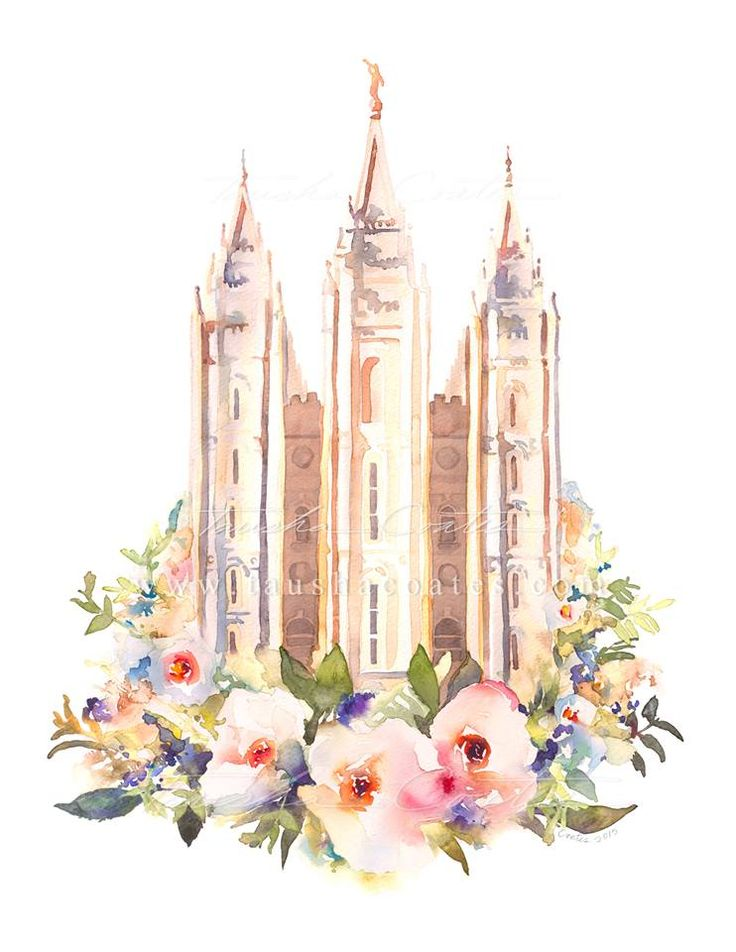 Salt Lake City Temple Watercolor Floral | Payson Temple Photography