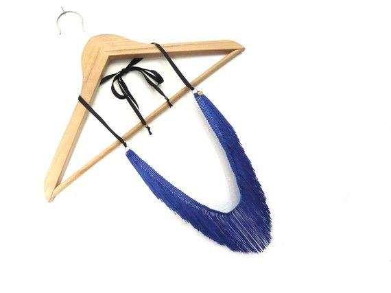Sautoir Franges - bleu électrique, ruban noir