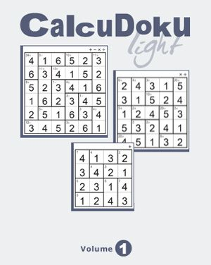 CalcuDoku are math based puzzles using addition, subtraction, multiplication and division coupled with logic. Available free as online and downloadable desktop games, CalcuDoku Light Vol 1 offers an assortment of 30 puzzles in 3 variants and mixed difficulty levels that turn math and logic into an exciting adventure.