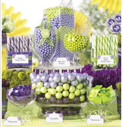 Purple and green candy buffet.: