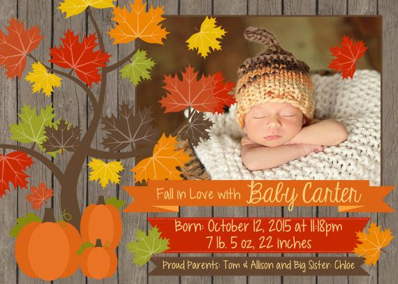 Birth Announcement Fall Themed By FunFiestaPartyDesign On Etsy