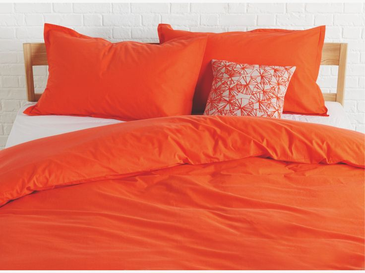 PRIMO REDS Cotton Tomato orange single duvet cover set - HabitatUK