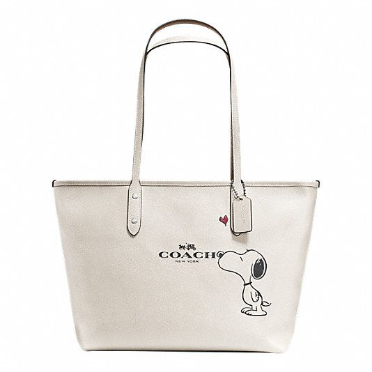 COACH X PEANUTS CITY ZIP TOTE IN CALF LEATHER