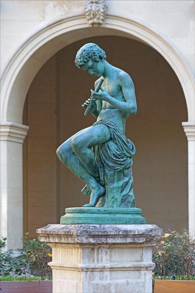 le joueur de fl te sculpture de jean andr delorme 1831 1905 1861 bronze jardin du palais. Black Bedroom Furniture Sets. Home Design Ideas