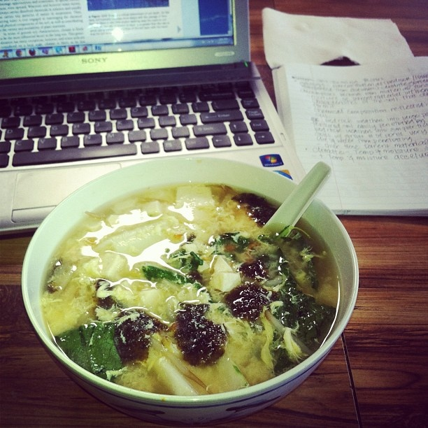 Miso Soup with nori, drop egg, tofu, and mustard cabbage for the sick ...